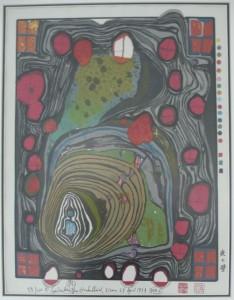 Hundertwasser, Dunkelbunt, 1979, Serigrafie 15 Farben, 52x40cm