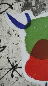Joan Miro,Personage i estels 54, Detail, 1979, Aquaforte+Collage, 90x63cm