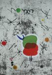 Joan Miro, Personage i estels 54, 1979, Aquaforte+gedruckte Collage, 90x63cm